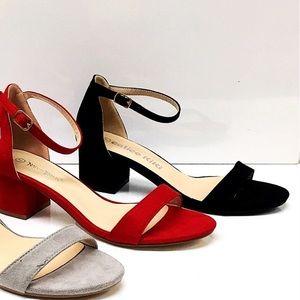 Black Basic Comfortable Ankle Strap Heel Sandal